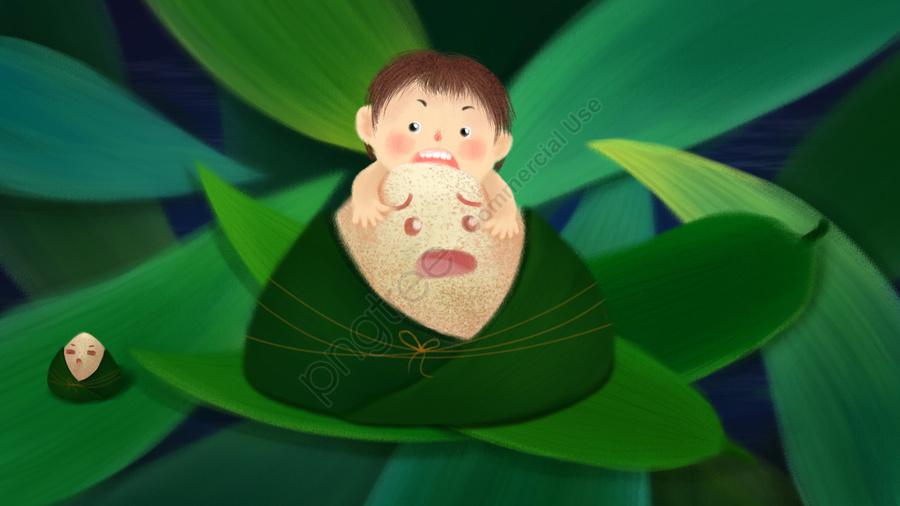 手繪插圖龍舟節粽子, 綠葉, 節日, 吃榛子 llustration image