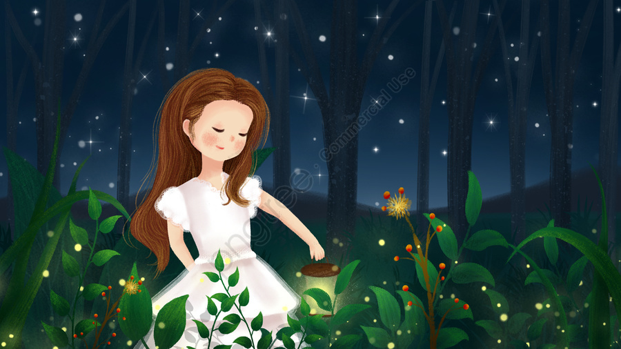 हाथ चित्रित चित्रण जंगल की रात, स्टार, गरमी का मध्य रात, लड़की llustration image