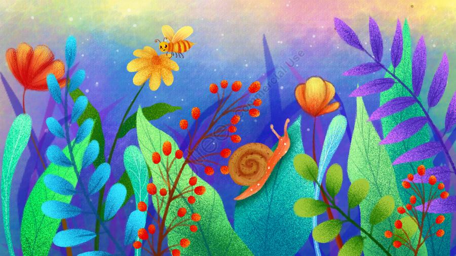 手描きのイラスト花植物, モザイク, ビー, カタツムリ類 llustration image