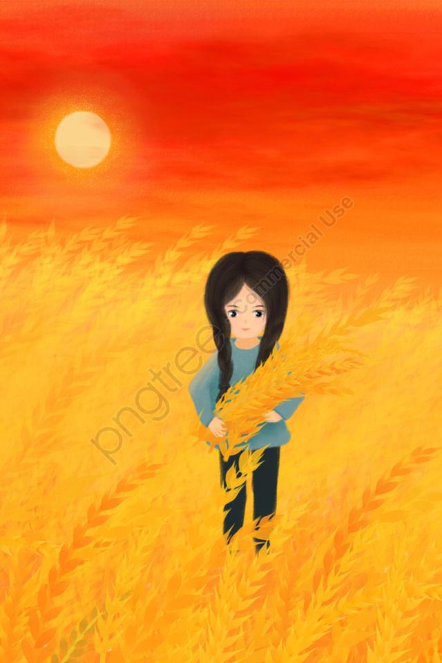 手描きイラストゴールデン小麦畑, 空, 太陽, 小麦 llustration image