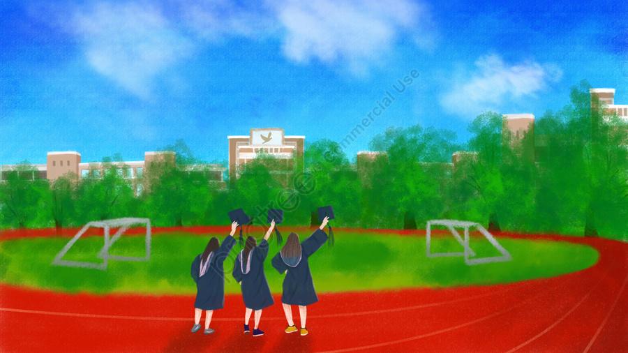 手描きイラスト卒業シーズン学校, 学士のスーツを着ている人, 遊び場, 建築教育 llustration image