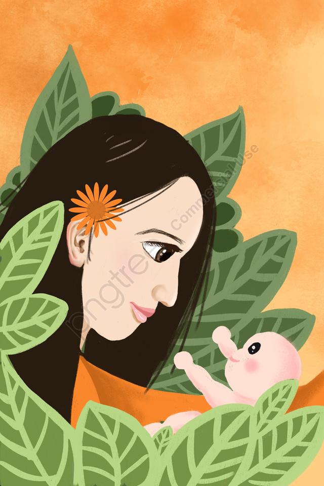 手描きのイラスト母子, ベイビー, 母と赤ちゃん, 子育て llustration image