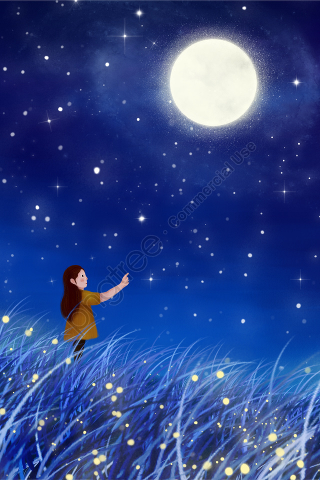 Hand Painted Illustration Night Starry Sky, Moon, Star, Grassland llustration image