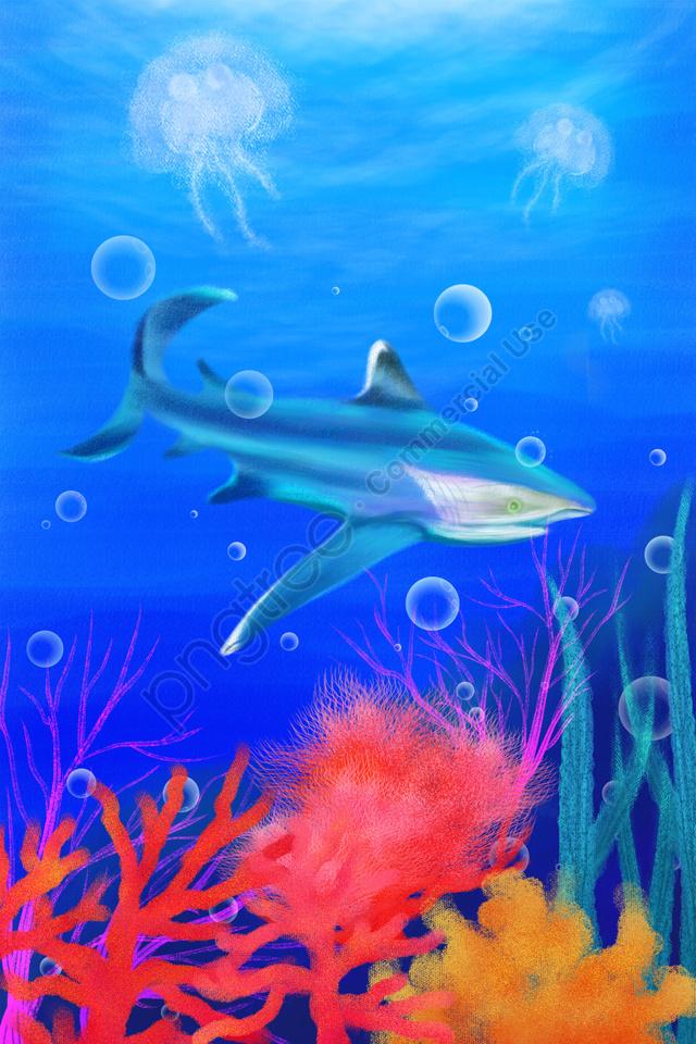 Tangan Dicat Ilustrasi Lautan Laut, Ikan, Ubur Ubur, Coral llustration image