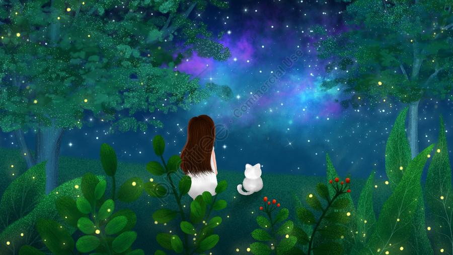 Mão Pintada Ilustração Céu Estrelado Midsummer Noite, Floresta, árvore, Folha Verde llustration image