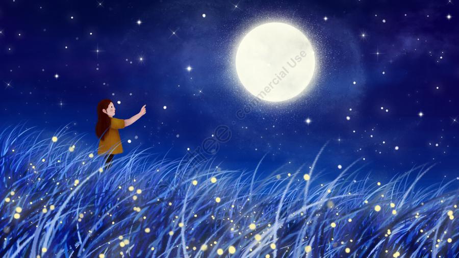 Mão Pintada Ilustração Lua Céu Estrelado, A Noite, Star, Firefly llustration image