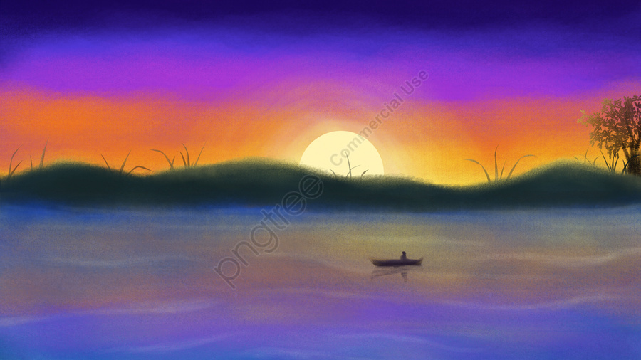 hand painted landscape illustration sunset, Sunset, Lake Water, Mountain Peak llustration image