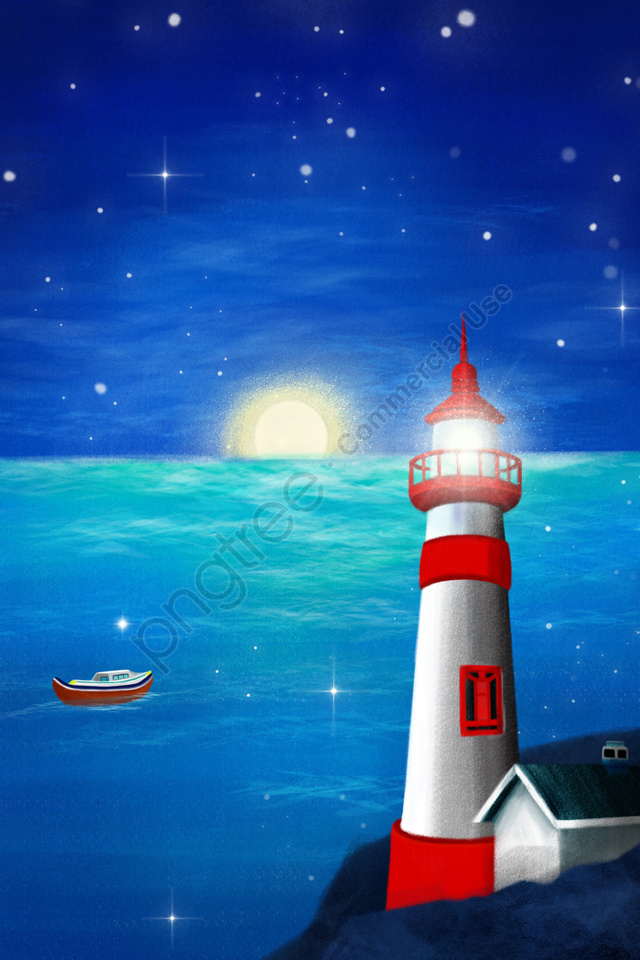 Tangan Dicat Mercusuar Pantai Laut, Laut, Langit Malam, Bot llustration image