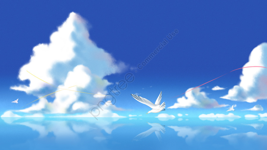 hand painted sea blue sky and white clouds blue sky background, Sky, Cloud, Seagull llustration image