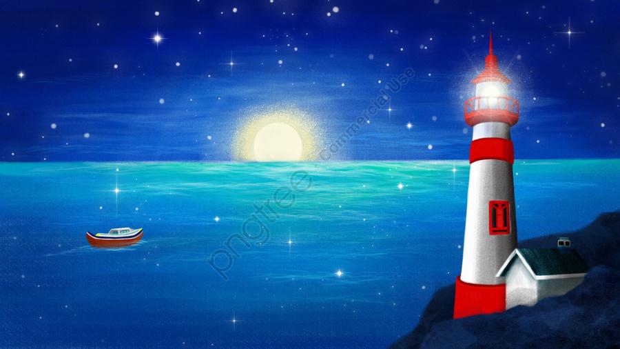 Tangan Dicat Malam Mercusuar Laut, Laut, Langit, Bot llustration image
