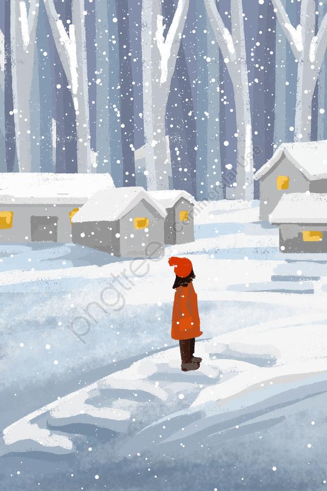 손으로 그린 마을 여자 겨울, 겨울, 겨울 눈이, 눈이 llustration image