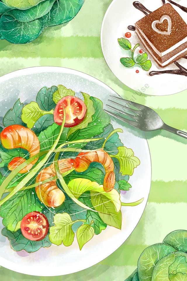 手描きの水彩画食品洋食, サラダ, 野菜, ケーキ llustration image