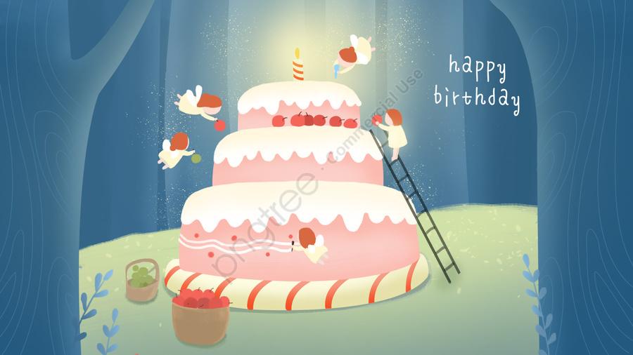 с днем рождения торт лесной эльф, делая, торт, с днем рождения llustration image