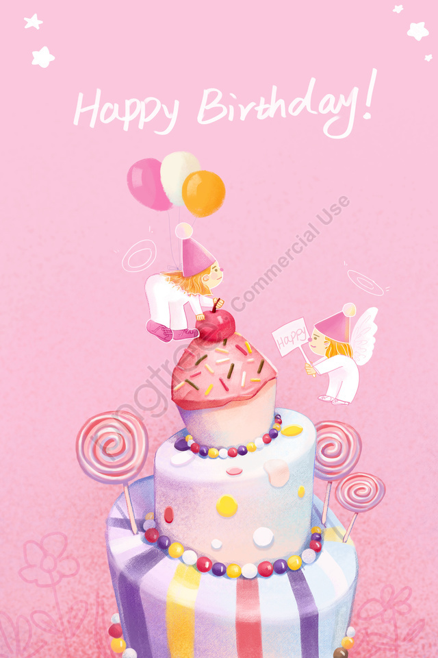 Happy Birthday Pink Cute And Warm Little Angel Illustration Image On