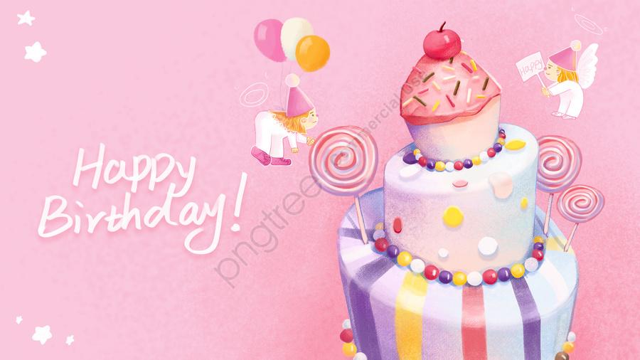 お誕生日おめでとうピンクかわいいと暖かい小さな天使, バースデーケーキ, ロリポップ, 手描き式 llustration image