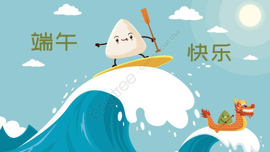 快樂的龍舟節龍舟節粽子划船, 衝浪, 可愛的, 波動 llustration image