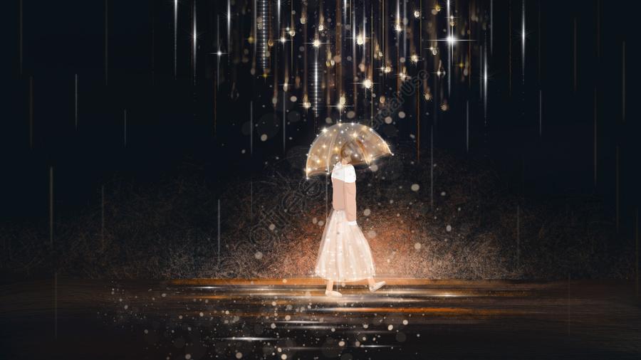 healing beautiful healing system illustration beautiful hand painted, Girl, Healing Background, Starlight llustration image
