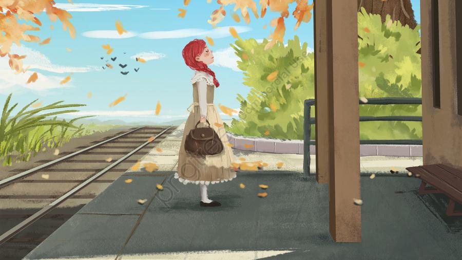 癒しの漫画挿入青い空, オータムリーブス, 秋, 旅行 llustration image