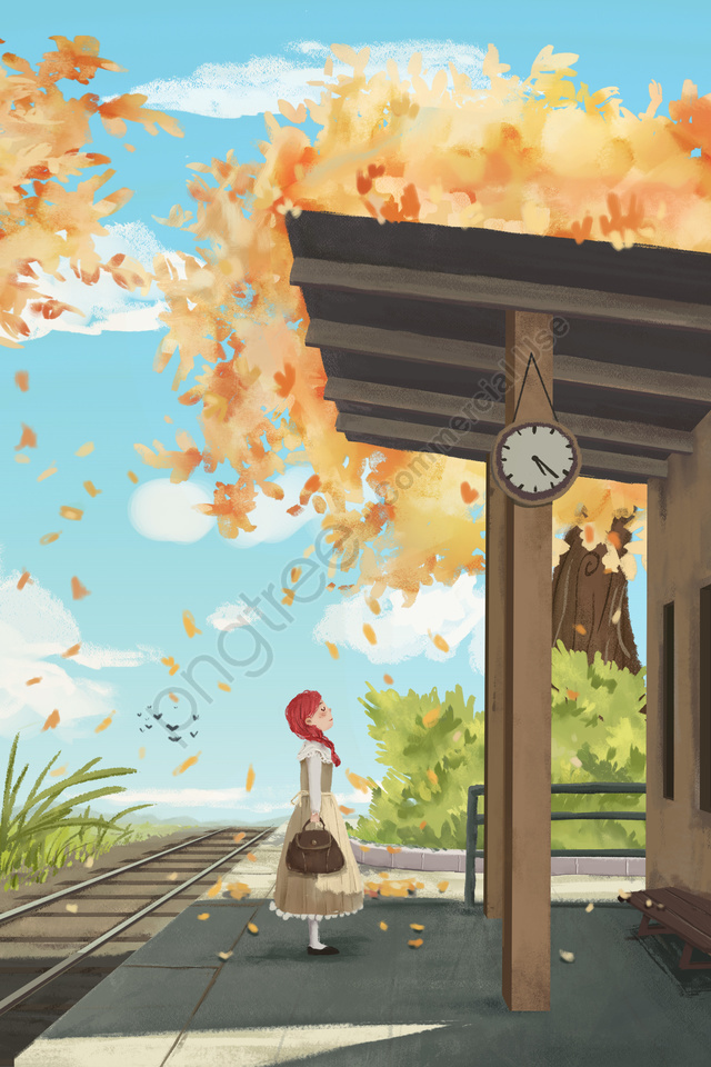 Kartun Penyembuhan Masukkan Langit Biru, Daun Musim Gugur, Musim Luruh, Perjalanan llustration image