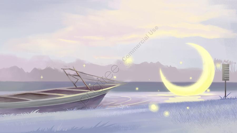 healing dream scenes moon, Ferry, Grassland, River llustration image