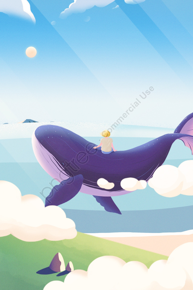 癒しイラスト手描きのクジラ, 海, 海, 少年 llustration image
