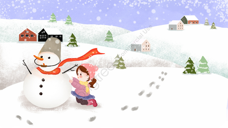 Heavy Snow Snowman Beautiful House Illustration Image On Pngtree