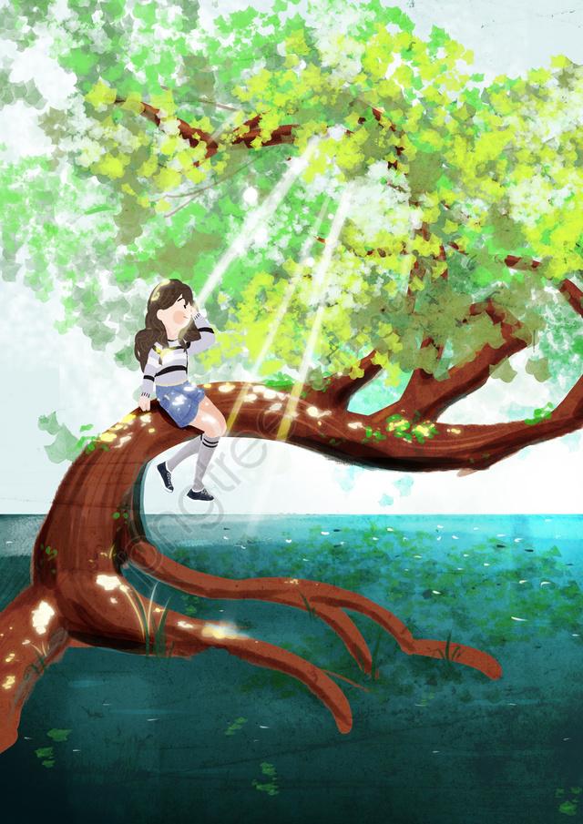 你好 在八月葉陽光女孩, 手繪, 插圖, 樹 llustration image