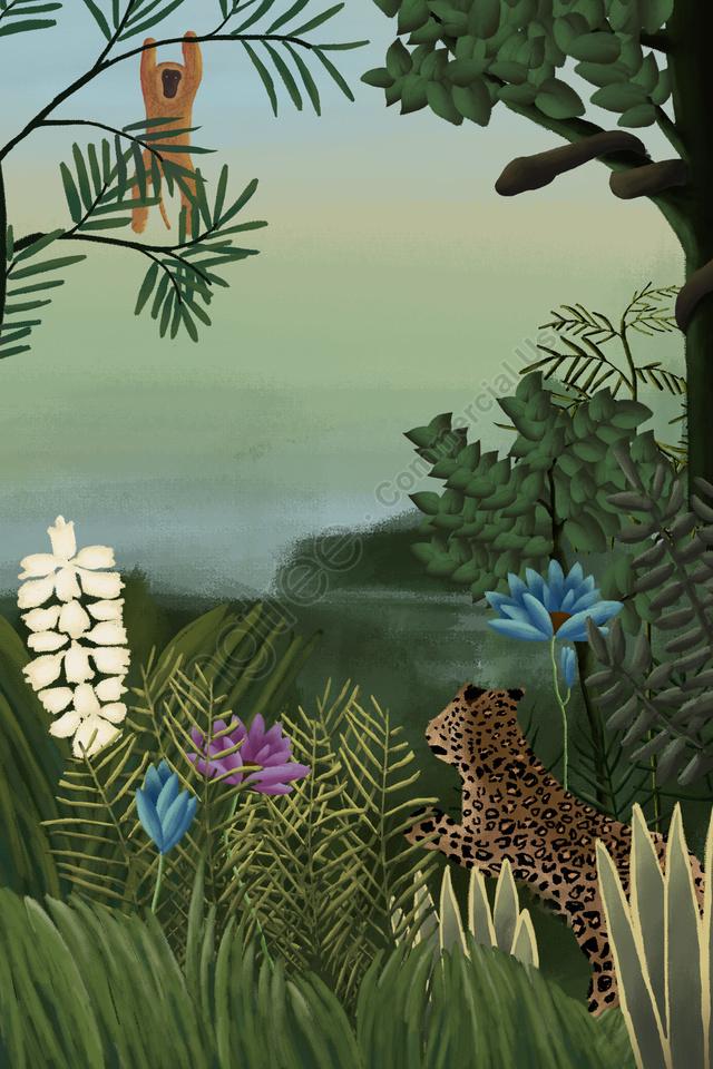 ヘンリールソー熱帯雨林元の植物, 動物, モンキー, ライオン llustration image
