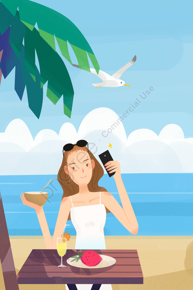 假日海邊旅行拍照, 拿, 照片, 海灘 llustration image