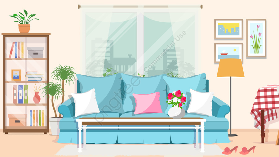 home indoor decoration home improvement, Sofa, Wall Paintings, Potted Flower llustration image