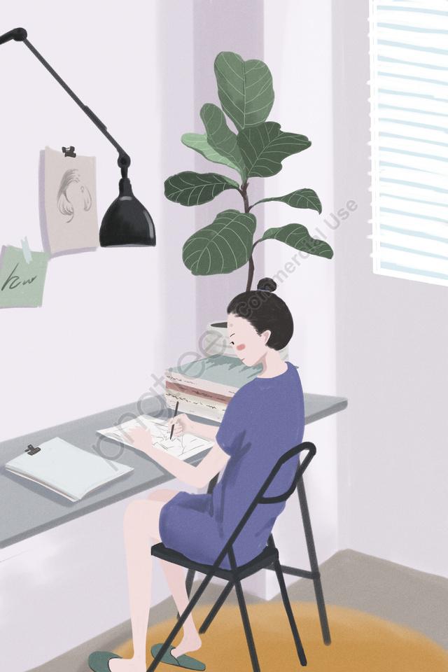 домашняя работа жизнь ежедневно, девочка, пример, домой llustration image