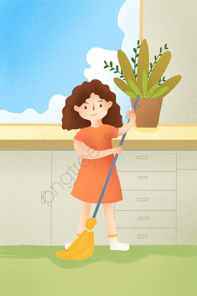 Home Life Health Illustration Illustration, Potted Plant, Blue Sky And White Clouds, Home llustration image