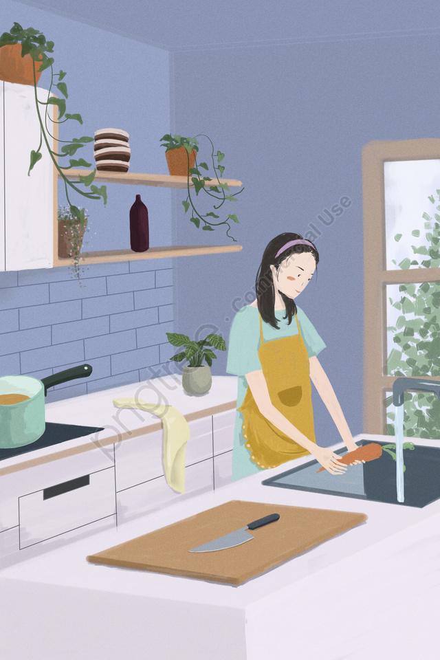 home life kitchen girl, Illustration, Warm, Home llustration image