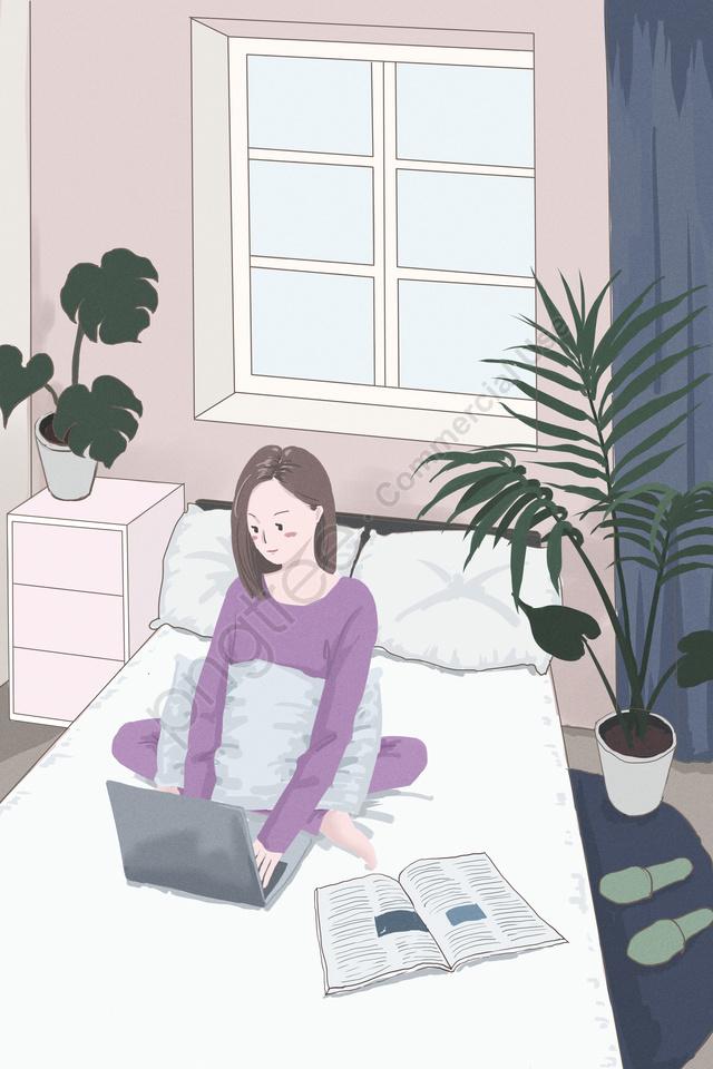فتاة المنزل غرفة التعلم, وظائف, نبات, المنزل llustration image