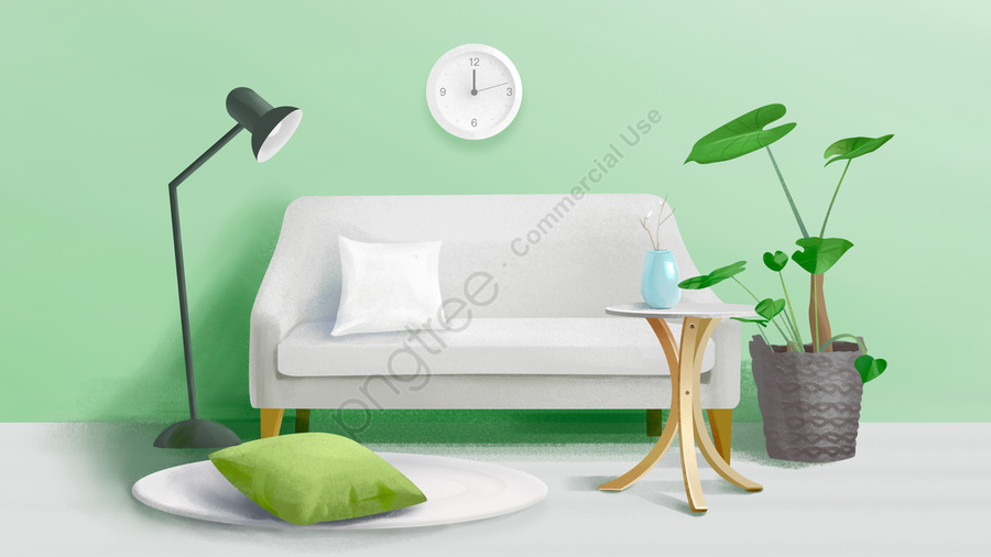 home sofa table lamp green plant, Pillow, Hand Painted, Drawn llustration image