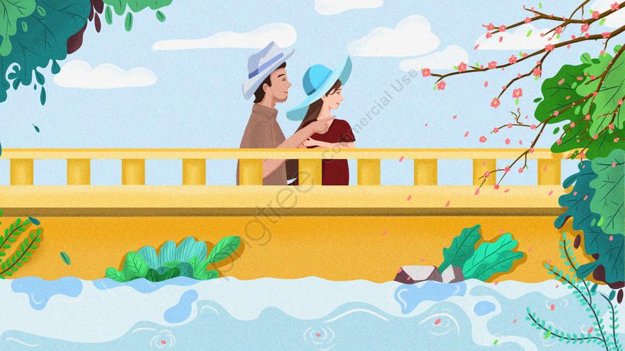 ホラーピーチブロッサムブリッジカップル, 任命, 桃の花を見てください, 春 llustration image
