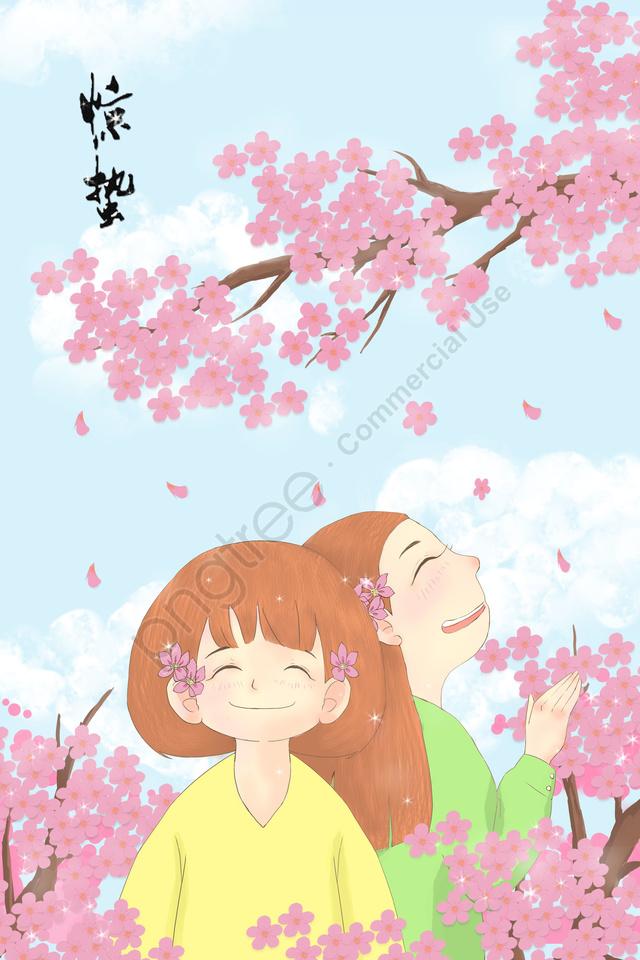 ホラー桃の花女の子春, 花, 恐怖, 桃の花 llustration image
