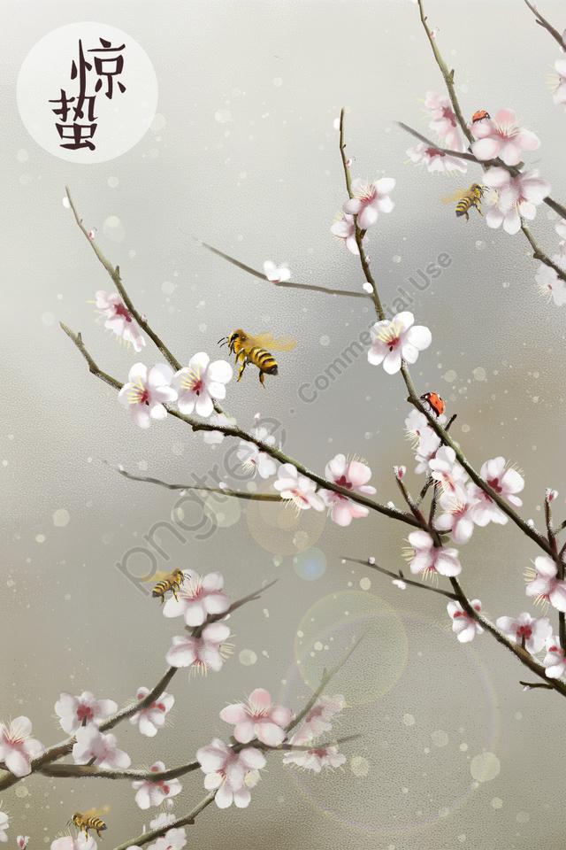 ホラー桃の花桃の植物, ビー, てんとう虫, 昆虫 llustration image