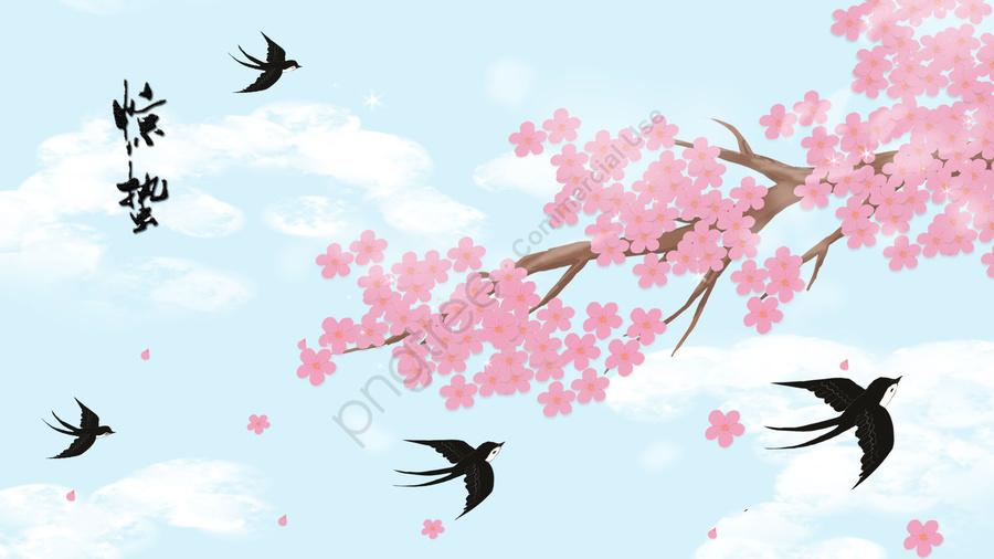 ホラー桃の花ツバメ春, 花, 恐怖, 桃の花 llustration image