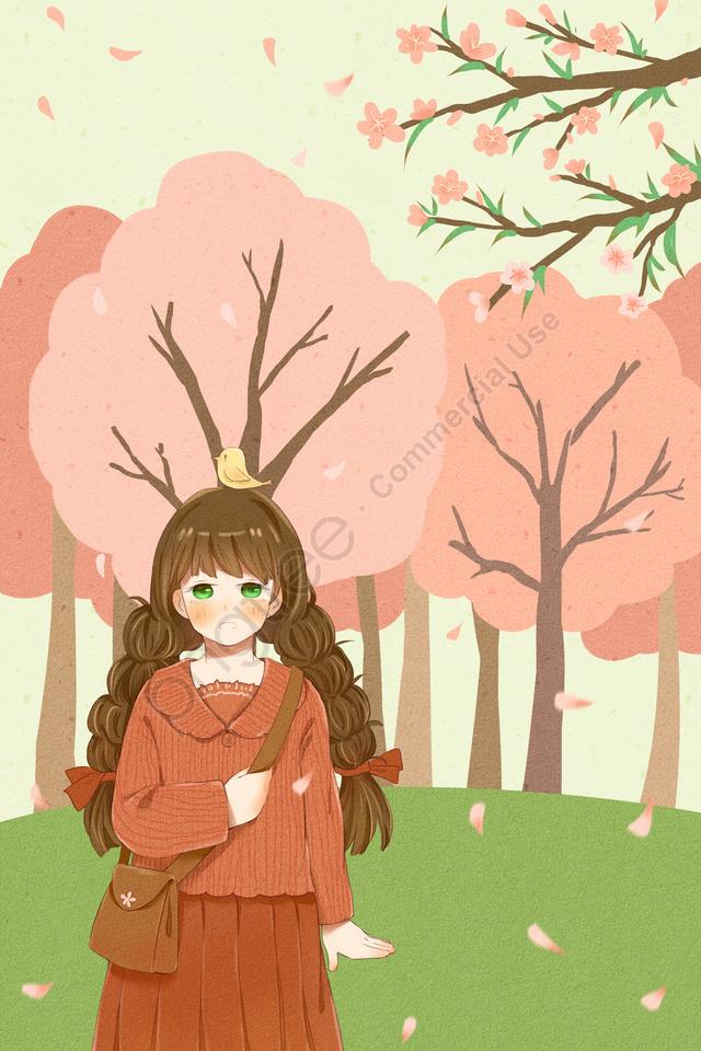 ホラー春春分太陽用語春, ガール, 十代の少女, ピンク llustration image
