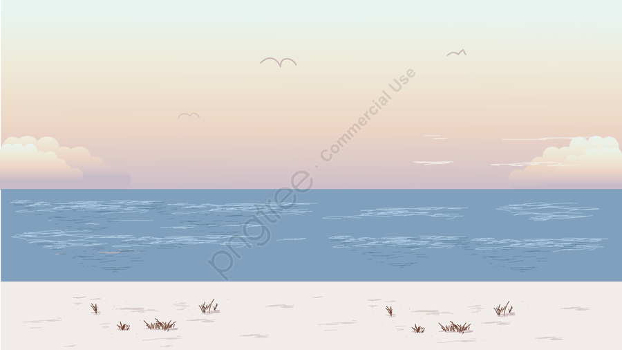 Bãi Biển Minh Họa Bên Bờ Biển, Bên Bờ Biển, Phong Cảnh Bên Bờ Biển, Mùa Hè. llustration image