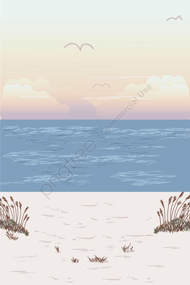 그림 해변 해변 풍경, 해변에서의 휴가, 해변 풍경, 여름 llustration image
