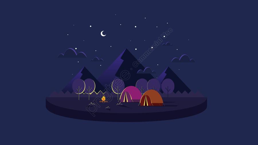 イラストクリエイティブ漫画キャンプキャンプクリエイティブイラスト, キャンピング, 屋外の, 屋外の風景 llustration image