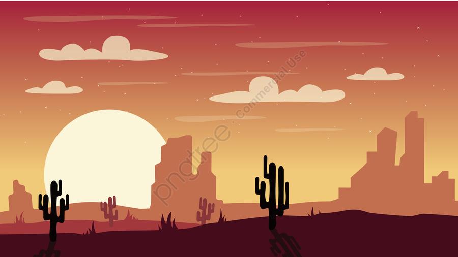 イラスト砂漠の風景砂漠の砂漠の夜, 夜景, 夜, カクタス llustration image