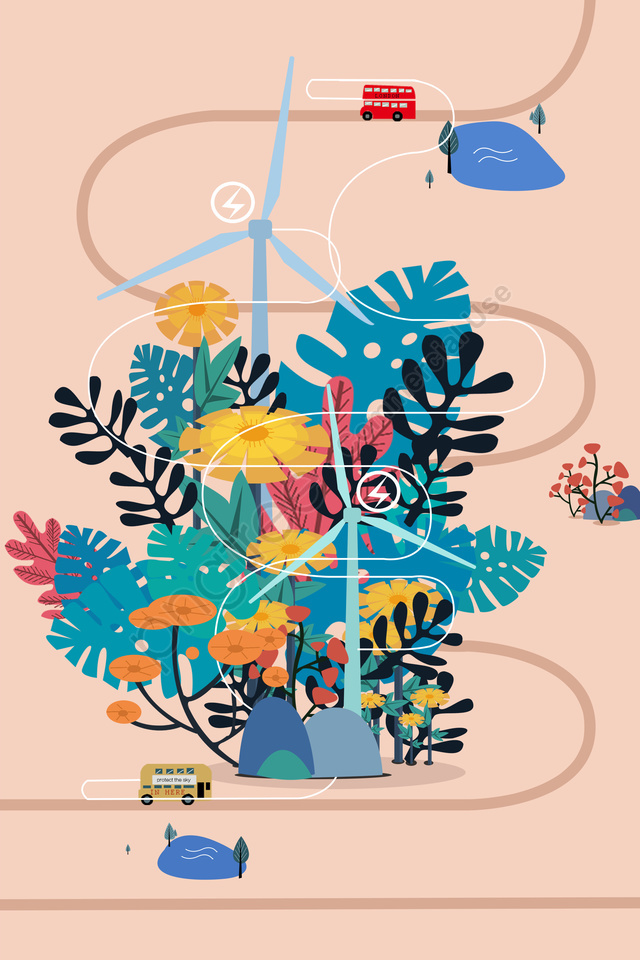 Minh Họa Bảo Vệ Môi Trường Tranh Trang Trí điện Gió, Đường, Cáp Treo, Cây llustration image