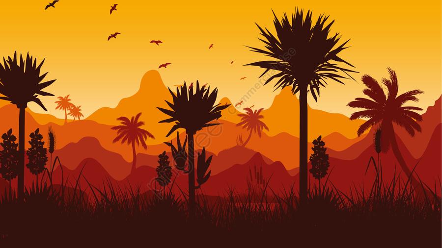 그림 저녁 풍경 저녁 풍경, 밤, 산맥, 나무 llustration image