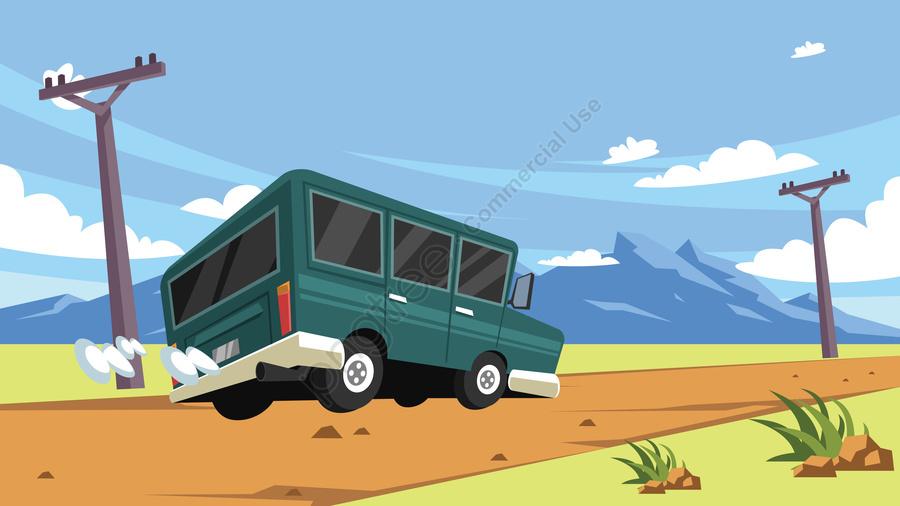 插圖領域公路汽車, 旅行, 戶外風景, 道路交通 llustration image