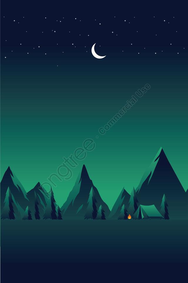 Bidang Ilustrasi Langit Berbintang Malam, Lanskap, Camping, Pemandangan Liar llustration image
