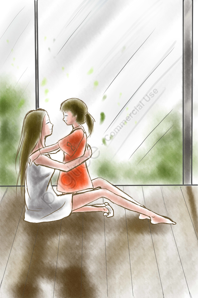 Illustration Flat Simple Mother And Daughter, Maternal Love, Mothers Day, Fresh llustration image