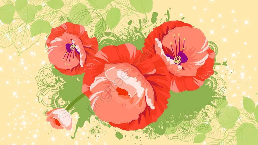 illustration flowers flower flowers, Board Painting, Plant, Red llustration image